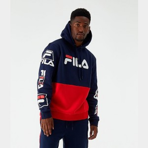 Men's Fila Branzino Hoodie Navy/Red Sales