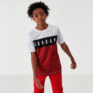 Boys' Jordan Open Lane Remix Graphic T-Shirt Red/Black/White Sales