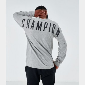 Men's Champion Back Logo Long-Sleeve T-Shirt Oxford Grey Sales