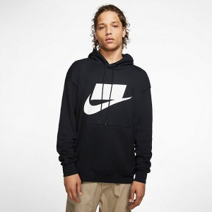 Men's Nike Sportswear NSW Pullover Hoodie Black/White Sales