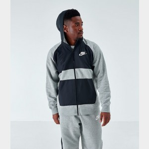 Men's Nike Sportswear Hybrid Graphic Full-Zip Hoodie Dark Grey Heather/White Sales