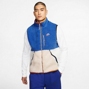 Men's Nike Sportswear Sherpa Fleece Vest Game Royal/Desert Sand/Sail Sales