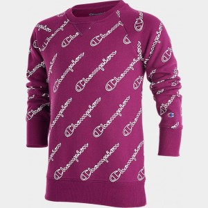 Girls' Champion Logo Graphic Fleece Crewneck Sweatshirt Venetian Purple Sales