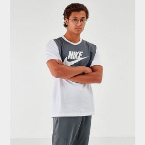Men's Nike Sportswear Hybrid Color Block T-Shirt White/Grey Sales