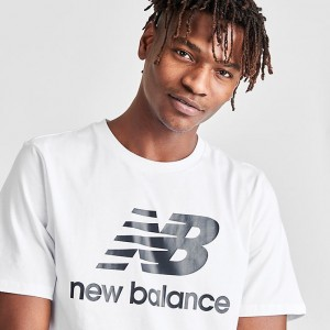 Men's New Balance Essentials Stacked Logo T-Shirt White Sales