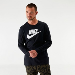 Men's Nike Sportswear Futura Icon Long-Sleeve T-Shirt Black/White Sales