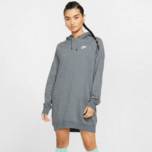 Women's Nike Sportswear Essential Fleece Dress Charcoal Heather/White Sales
