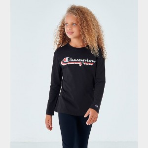 Girls' Champion Script Logo Long-Sleeve T-Shirt Black Sales