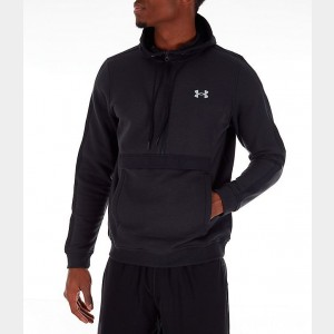 Men's Under Amour Microthread Fleece Anorak Half-Zip Hoodie Black Sales