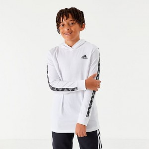 Boys' adidas Badge of Sport Tape Hooded Long-Sleeve T-Shirt White/Black Sales