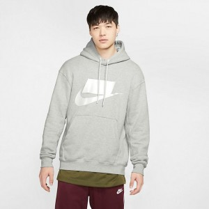 Men's Nike Sportswear NSW Pullover Hoodie Grey Heather/White Sales