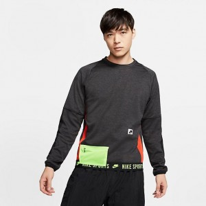 Men's Nike Therma Long-Sleeve Top Black Heather/Black/Electric Green/Pale Ivory Sales