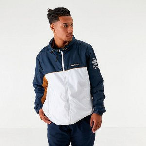 Men's Timberland Full-Zip Hooded Windbreaker Jacket Navy/White/Spicy Orange Sales