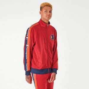 Men's Champion Poly Tape Track Jacket Red Sales