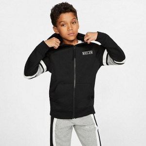 Boys' Nike Air Full-Zip Hoodie Black/Dark Grey Heather/White/White Sales
