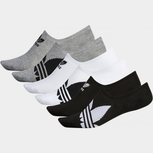 Men's adidas Trefoil 6-Pack Footie Socks Black/White Sales