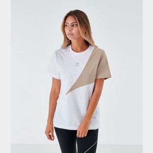 Women's adidas Originals Boyfriend T-Shirt White/Khaki Sales