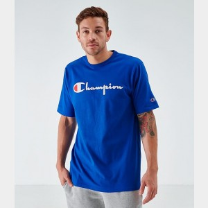 Men's Champion Flocked T-Shirt Royal Sales