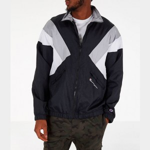 Men's Champion Nylon Colorblock Track Jacket Black Sales