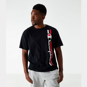 Men's Champion Vertical Script T-Shirt Black Sales