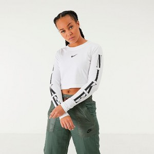 Women's Nike Sportswear Graphic Crop Long-Sleeve T-Shirt White/Black Sales