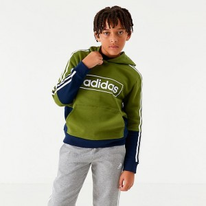 Boys' adidas Originals Colorblock Logo Hoodie Tech Olive/Navy Sales
