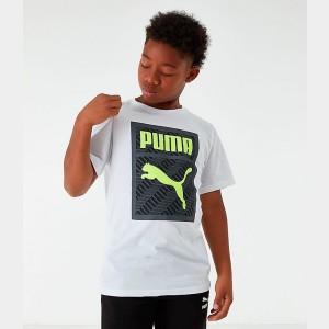 Boys' Puma MCS Box Logo T-Shirt White/Black/Green Sales