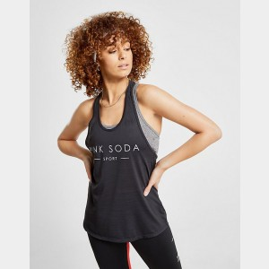Women's Pink Soda Sport Core 2-In-1 Tank Black Sales
