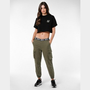 Women's SikSilk Cargo Jogger Pants Khaki Sales