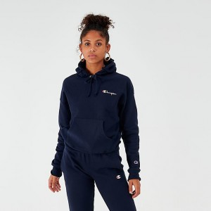 Women's Champion Reverse Weave Small Script Logo Hoodie Navy Sales