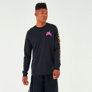 Men's Jordan Mashup Classics Long-Sleeve T-Shirt Black/Vivid Purple Sales