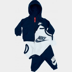 Infant Nike Hoodie Onesie and Pants Box Gift Set Obsidian/White Sales