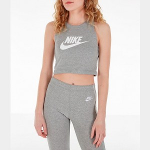 Women's Nike Sportswear Heritage Cropped Tank Grey Heather/White Sales