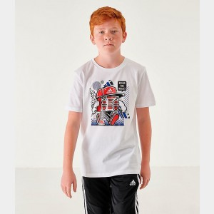 Kids' adidas Bring The Noise T-Shirt White/Blue Sales