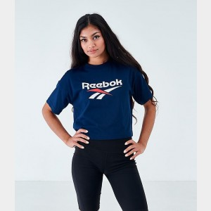 Women's Reebok Classics Crop T-Shirt Collegiate Navy Sales