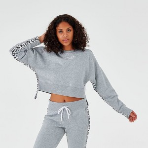 Women's Calvin Klein Tape Crop Crew Sweatshirt Grey Sales