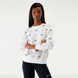 Women's Nike Sportswear Shine All Over Print Crew Sweatshirt White/Metallic Sales