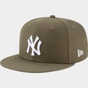 New Era New York Yankees MLB 9FIFTY Snapback Hat Olive Sales