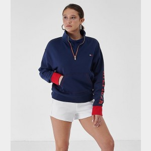 Women's Tommy Hilfiger Half-Zip Fleece Top Navy/Red Sales