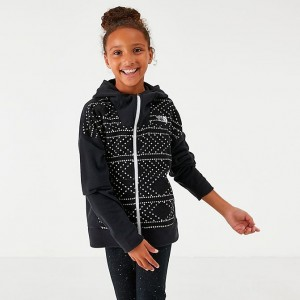 Girls' The North Face Glacier Full-Zip Hoodie Black Diamond Print Sales