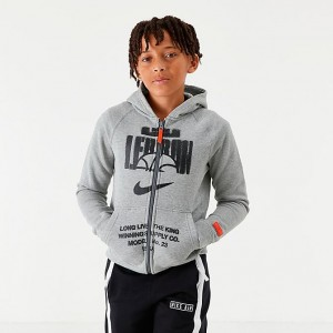 Boys' Nike LeBron Full-Zip Basketball Hoodie Grey Heather/Team Orange Sales