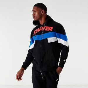 Men's Starter Colorblock Full-Zip Hoodie Black/Red/Blue Sales