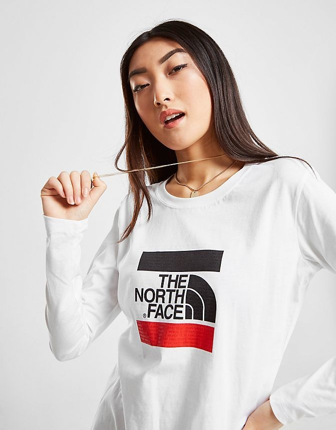 Women's The North Face Box Logo Long-Sleeve Shirt White Sales