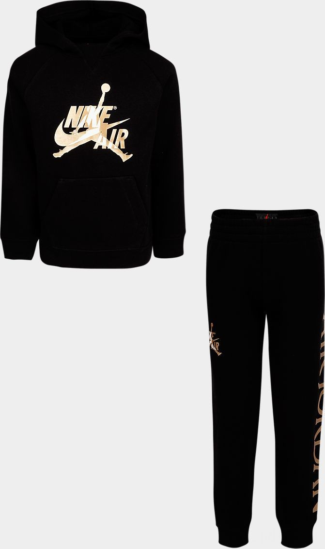 Little Kids' Jordan Jumpman Classic Pullover Hoodie and Jogger Pants Set Black/Gold Sales