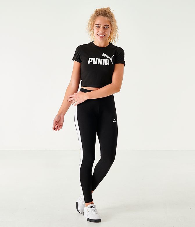 Women's Puma Amplified Fitted Logo Crop T-Shirt Black Sales