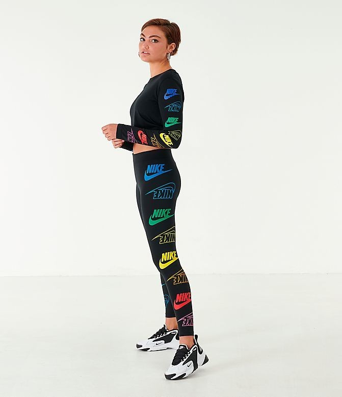 Women's Nike Sportswear Cropped Long-Sleeve T-Shirt Black/Multicolor Sales