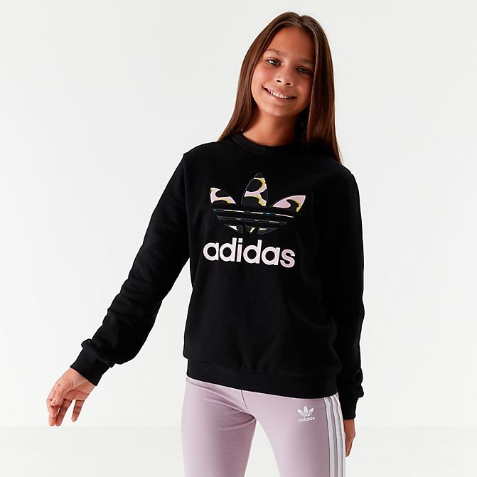 Girls' adidas Originals Camo Trefoil Crew Sweatshirt Black/Camo Sales