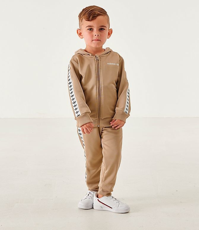 Kids' Infant and Toddler adidas Originals Tape Poly Full-Zip Hoodie and Jogger Set Trace Cargo Sales