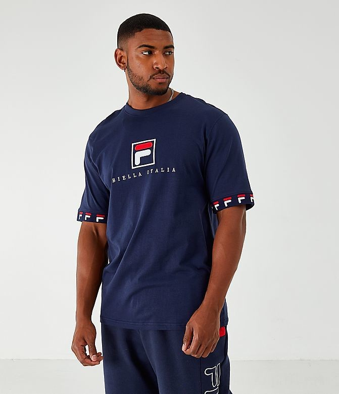 Men's Fila Rosso T-Shirt Navy Sales