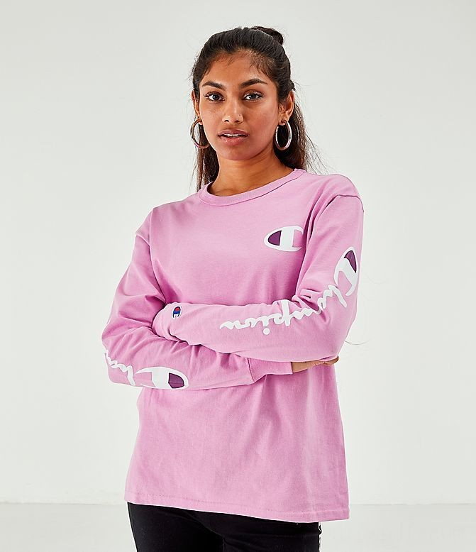 Women's Champion Long-Sleeve T-Shirt Pink Sales